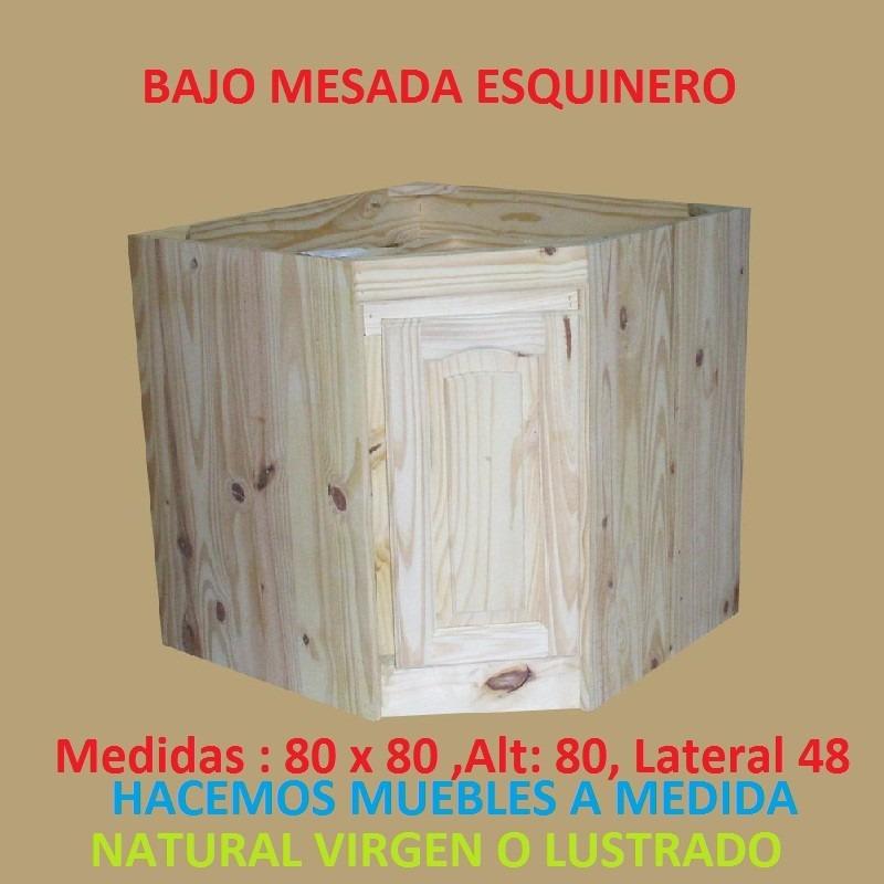 Bajo mesada esquinero de madera maciza en for Muebles madera maciza uruguay