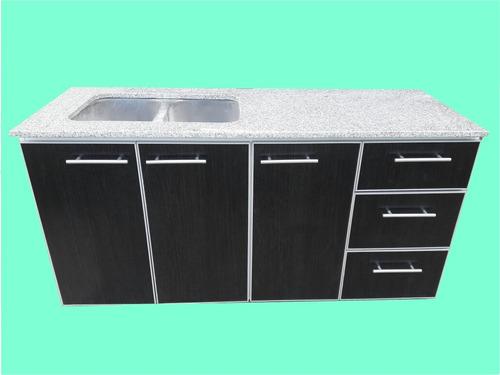 bajo mesada y alacena c/ marmol y bacha de 2,20mt c/aluminio