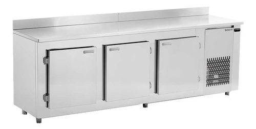 bajo mostrador 3 puertas refrigerador inox gelopar