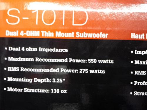 bajo plano powerbass s-10td  2 bobinas 550 watts max