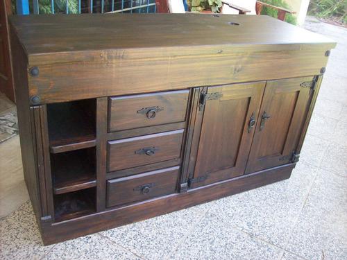 /bajomesada madera maciza rustico ptas,caj. estantes