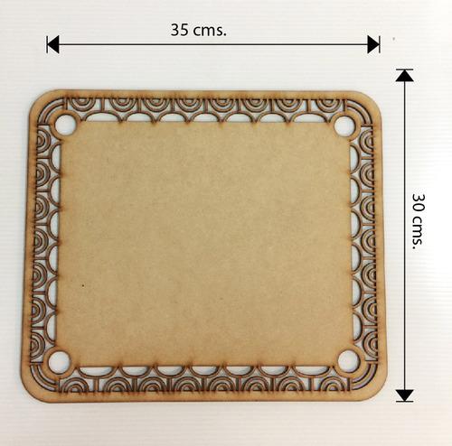 bajoplato plato base mdf 3 mm 35 x 30 cm laser rectangular