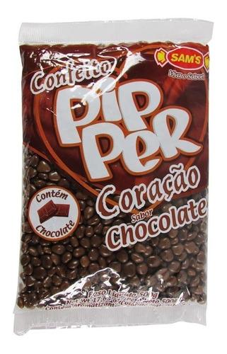 bala confeito pipper coração chocolate  c/ 5  pacotes