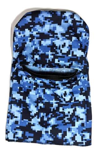 balaclava pasamontañas cubrebocas bici camuflaje pixel azul