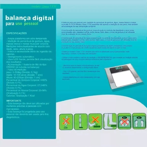 balança bioimpedância digital g-tech glass 7 fw