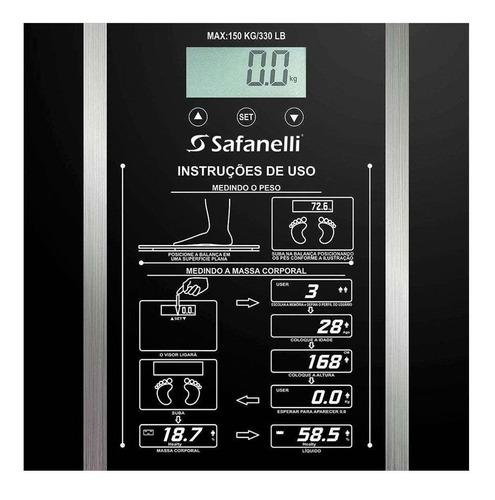 balança digital banheiro academia safanelli 150kg preta