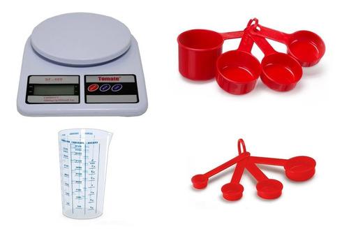 balança digital kit medidores xícaras colher e copo graduado