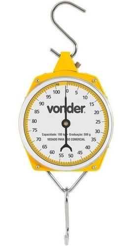 balança suspensa tipo relógio 100 kg com gancho - vonder