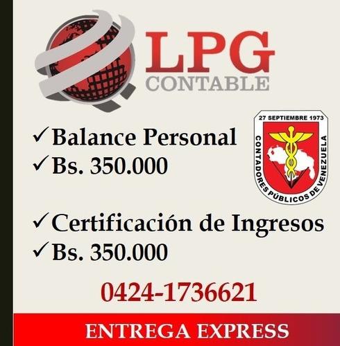 balance personal y certificacion ingresos - contador publico