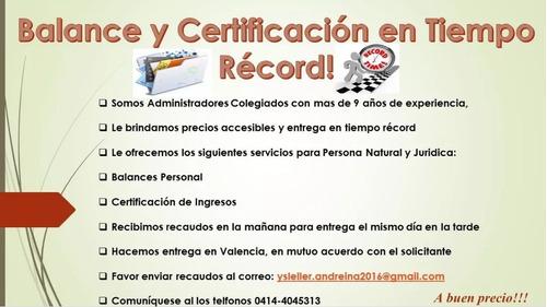 balances personales certificaciones de i visados en tiempo r