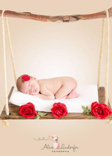 balanço corda madeira prop foto newborn acompanhamento bebê