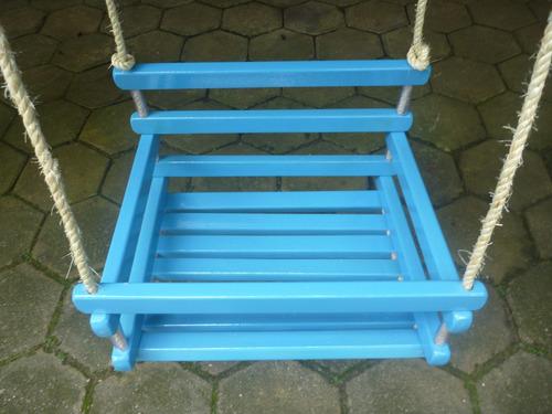 balanço para crianças azul corda sisal