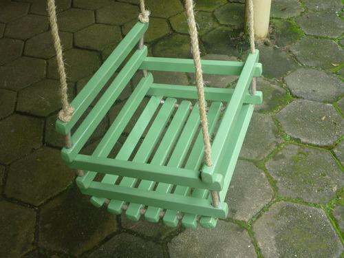 balanço para crianças verde corda sisal