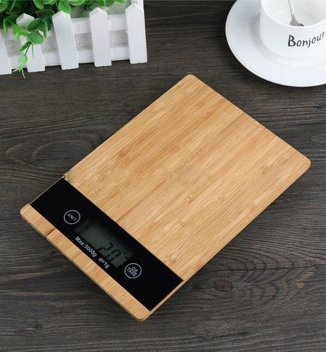 balanza alimentos digital madera bamboo 1gr a 5 kg cocina c