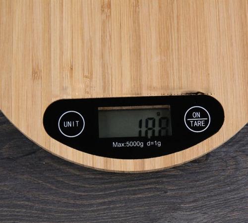 balanza  cocina alimentos digital madera bamboo 1gra5 kg r