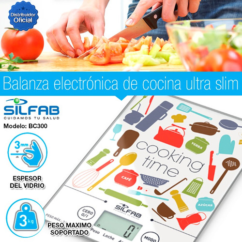 balanza cocina comida liquidos silfab 3kg slim tecnofast