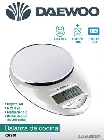 balanza de cocina digital daewoo- 3kg- función tara ks7250