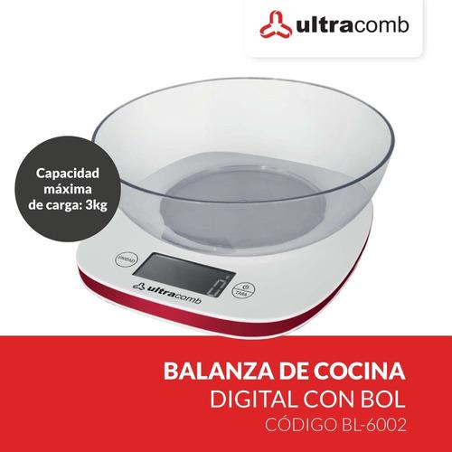 balanza de cocina ultracomb digital con bowl lcd bl-6002 pc