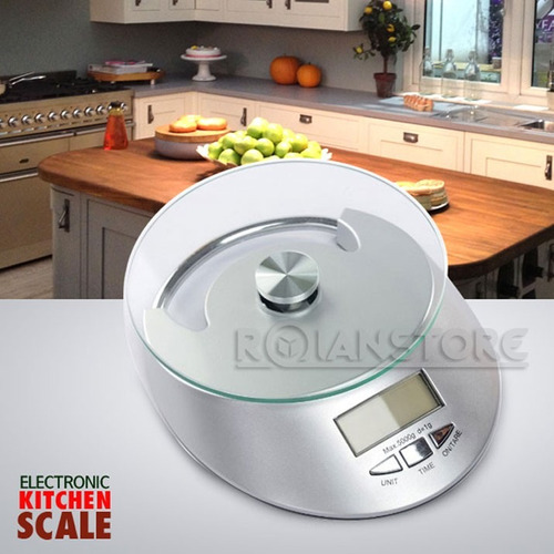 balanza digital de cocina con base de vidrio 1gr a 5kg