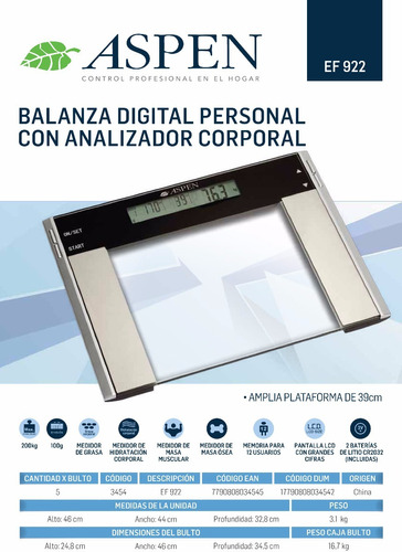 balanza digital personal aspen ef922 200kg masa grasa agua