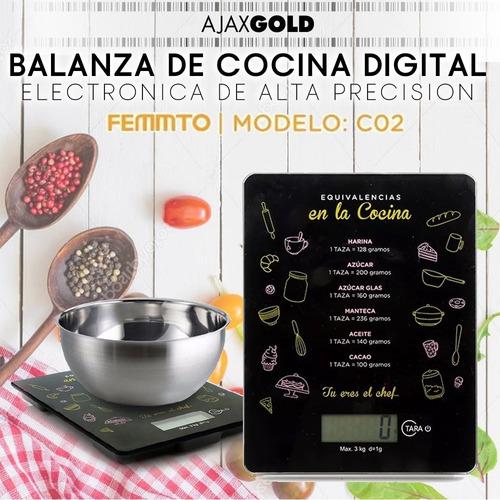 balanza electronica de cocina digital alta precision 3 kilos