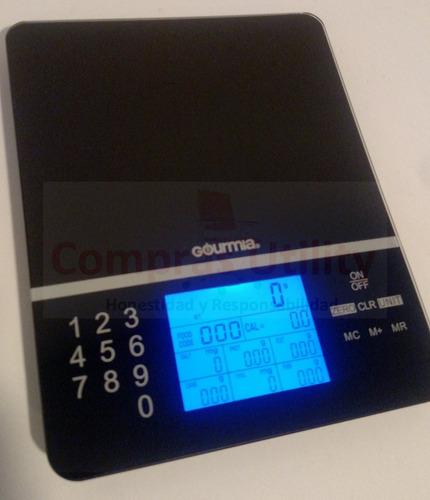 balanza gramera digital nutricion alimentos portatil vidrio
