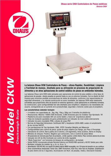 balanza ohaus ckw - apropiada para alimentos inox -garantía