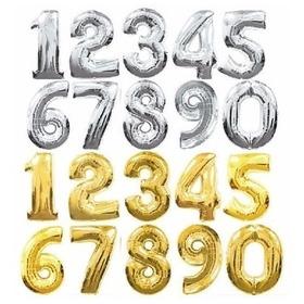 Balão Metalizado De Número E Letra 1 Metro Dourado Prata