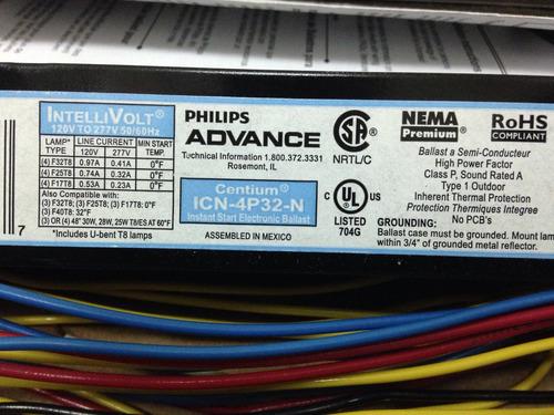 balastro 4x32 w philips advance multivoltaje lampara especul