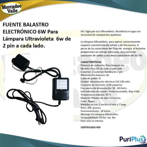balastro fuente uv 6w 2 pin lampara ultravioleta filtro agua
