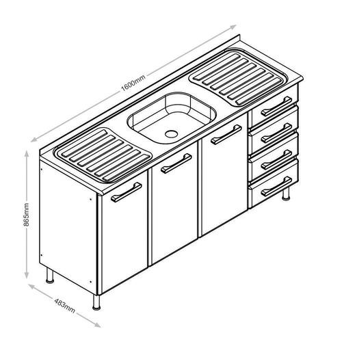 balcão 3 p. 4 g. em aço c/pia inox - bertolini 4636 linea