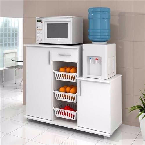 Armario Hemnes ~ Balc u00e3o Armário Cozinha Fruteira Microondas Bebedouro, Branco R$ 299,00 em Mercado Livre