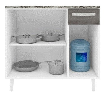 balcão armario de cozinha com pés tampo prateleira b40