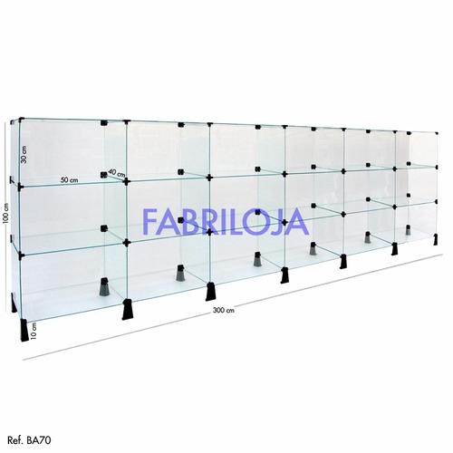 balcão atendimento modulado em vidro p/ loja - 300x100x040