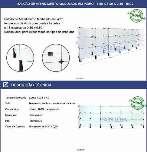 balcão atendimento modulado em vidro p/ loja 3,00x1,00x0,40