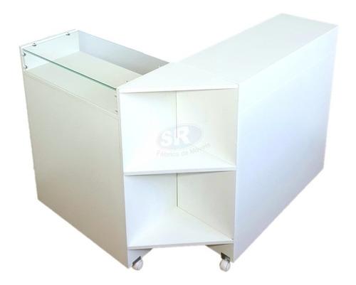 balcão caixa l para recepção atendimento vitrine + rodas