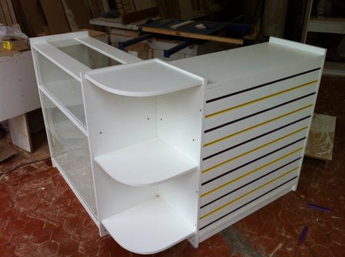 balcão caixa vitrine mdf 18m/m canaletado com porta