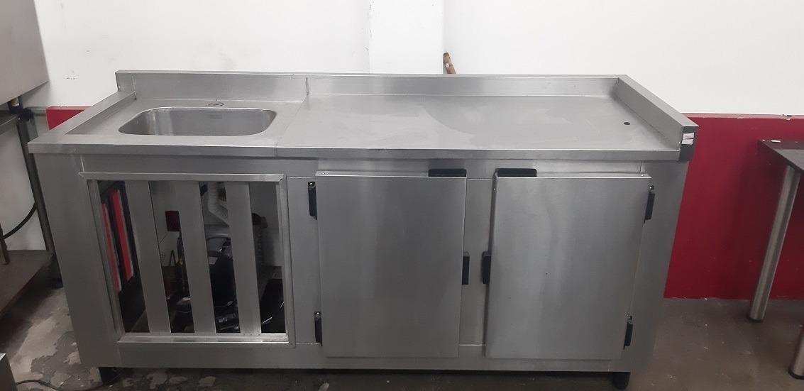 Balcao Com Pia Em Inox Refrigerado 2 Portas Com 2 Pista R 3 990