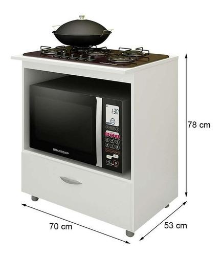balcão de cozinha lívia para cooktop 5 bocas 1 pt branco