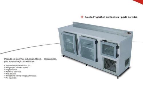 balcão de encosto refrigerado inox - portas de vidro 2,0m