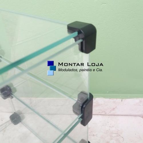 balcão de vidro modulado em l grande p loja 250x100x30 lindo