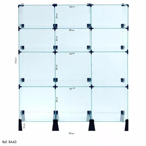 balcão em vidro temperado para lojas modulo de prateleiras