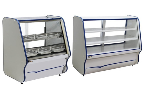balcão estufa quente p salgados 0,75 + vitrine seca 1,20 kit