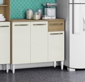 balcão gabinete cozinha c/ 3 portas 4 pés ravelo marrom b40