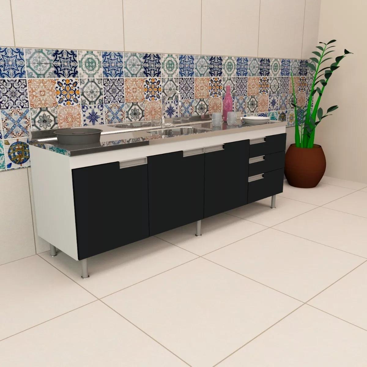 Balcao Gabinete Cozinha Para Pia 2 00m Preto Spp89 M D F R 920