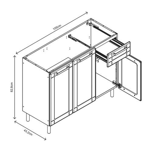 balcão p/ pia (s/ cuba) 3 portas em aço - bertolini múltipla