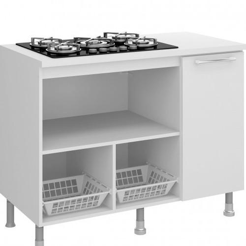 balcão  para micro-ondas e cooktop com fruteira - branco
