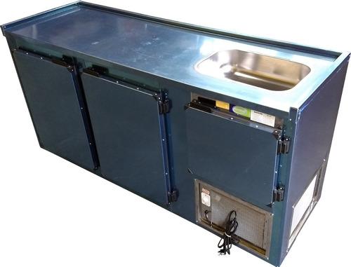 balcão refrigerado de encosto com cuba 2,00mts refrigel