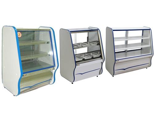balcão refrigerado, estufa quente e vitrine seca kit 3 peças