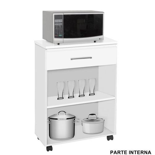 balcão suporte microondas / forno gaveta  rodinhas lz preto